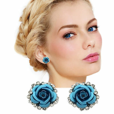 Women Fashion Jewelry Lady Elegant Crystal Rose Flower Ear Stud Earrings 1 Pair