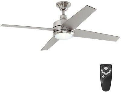 52 in led indoor ceiling fan light kit remote control modern large ceiling fan w light kit remote control 52 in led indoor modern brushed nickel aloadofball Image collections