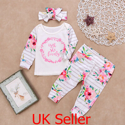 Newborn Baby Girls Floral Outfits Clothes T-shirt Tops Striped Pants Headband UK