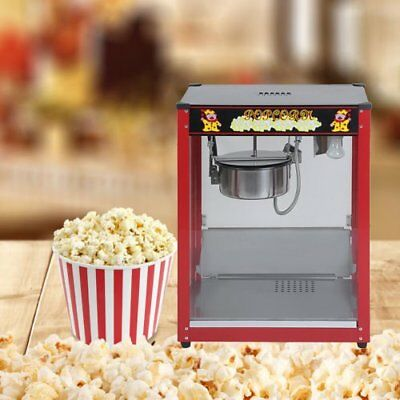 1370W Commercial Stainless Steel Popcorn Machine Red Pop Corn Warmer Cooker HA