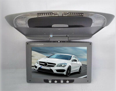 9''Screen Flip Down Roof Mount Overhead TFT LCD Grey Car DVD Multimedia Monitor
