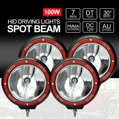 "4pcs 7"" inch 100W HID Driving Lights Xenon Offroad 4WD UTE 4x4 Work 12V Red"