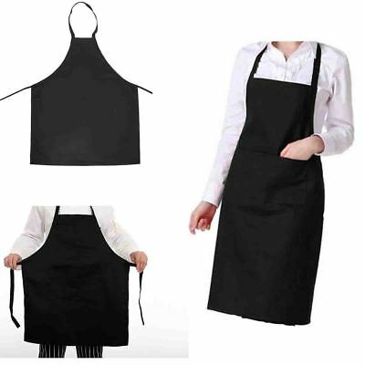 Waterproof Chef Apron Black Catering Cooking Kitchen Butcher Unisex with Pocket