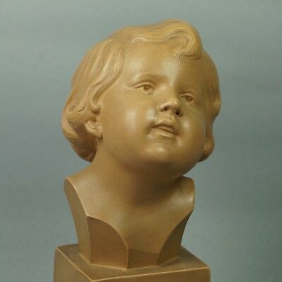 Vintage French Art Deco Sculpture Terracotta Bust Of A Child Signed D Daniel