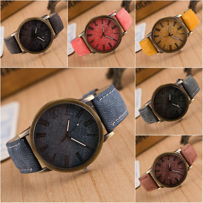 Fashion Women Men Casual Watch Leather Band Cowboy Analog Quartz Wrist Watches