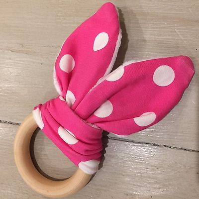 Natural Wood And Cotton Crinkle Sound Bunny Ear Teething Ring, Pink & White Spot