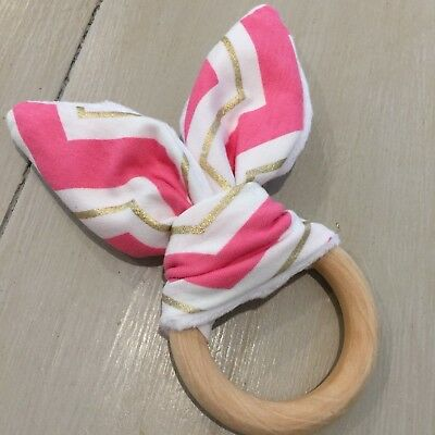 Natural Wood And Cotton Crinkle Sound Bunny Ear Teething Ring, Pink,White Gold