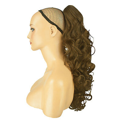 "17"" PONYTAIL Clip in Hair Extensions CURLY Ash Brown REVERSIBLE Claw Clip"