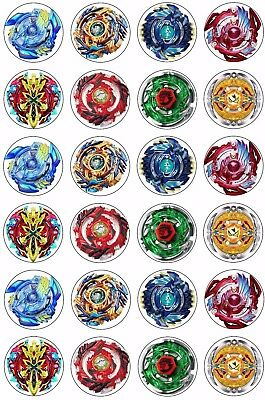 24 x Beyblade Wafer Rice Paper Cupcake Toppers EDIBLE CAKE DECORATIONS Bey Blade