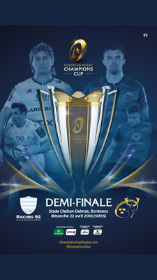 Racing 92 v Munster April 2018 rugby programme Champions Cup semi-final
