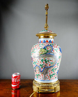 Large Antique Chinese Porcelain Vase Lamp Wucai Dragon Transitional 17th Century