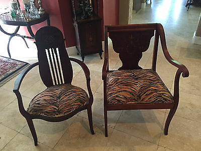 Vintage / Antique Mahogany Banjo Arm Chair -With Inlay Mother Of Pearl