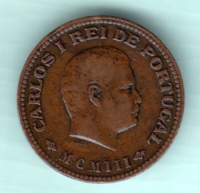 Portuguese Colonial India 1903 Extremely RARE 1/4 Tanga Copper Coin Carlos I 531