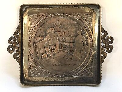 Small Antique French France Bronze Square Ribbon Handles Tray