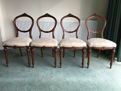 Victorian Carved Walnut Balloon Back Dining Chairs - John Taylor & Son Edinb