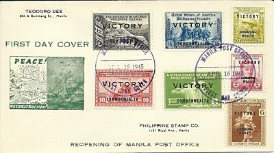 Philippines 1945 Victory First Day Cover Manila Post Office Reopening 7 Stamps