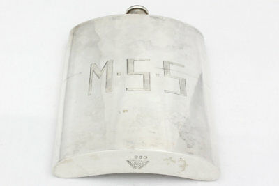 Vintage Sterling Silver Half Pint Hip Flask, Simple Design, Monogrammed