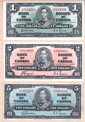 1937 Bank of Canada $1, $2, $5, $10 and $20 notes with KGVI portrait.