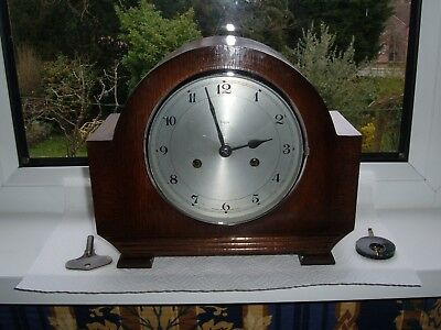 Vintage ENFIELD Smiths Chiming Mantel Clock + Key / Restoration or Spare Parts