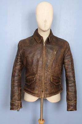 Superb Vtg 1930s AVIATOR Horsehide Leather Motorcycle Workwear Jacket Small