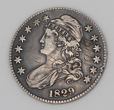 1829 U.s. Capped Bust Half Dollar Silver Coin No Reserve #555