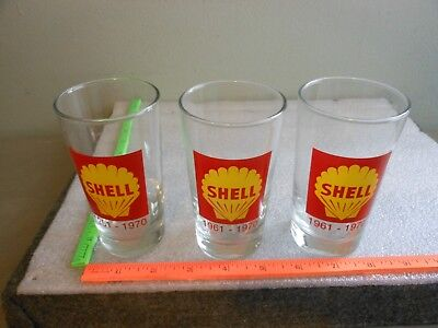 Lot of 3 Vintage Shell Gas Oil 1961-1970 Advertising Logo Drinking Glass GLASSES