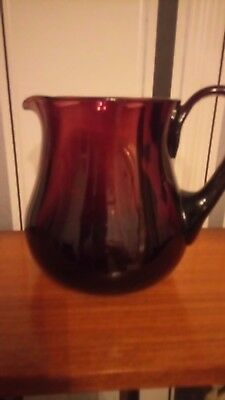 vintage glass edwardian amethyst jug hand blown