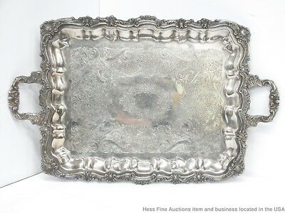 Massive Silver Butlers Serving Plated Antique Ornate Footed Tray 25 x 15.5 in