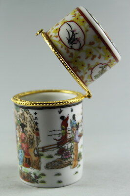 China Handwork Decoration Porcelain Paint Flowers & Girl Elegant Toothpick box