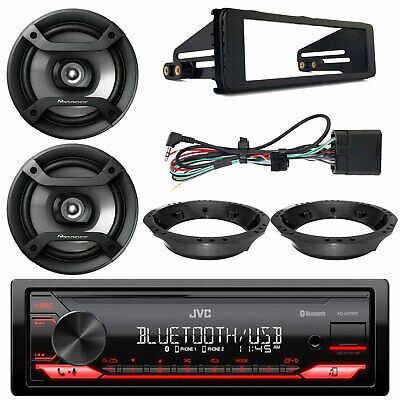 "CD Stereo, Harley 98-13 FLHT FLHX FLHTC Dash Kit,6.5"" Marine Speakers & Adapters"