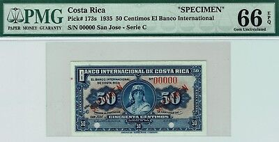 Banco Internacional de Costa Rica 50 centimos P-173s PMG 66 EPQ GEM Uncirculated