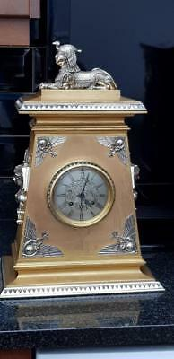 A 19thC Solid Bronze Two Tone Egyptian Revival Mantel Clock