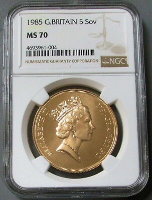 1985 Gold Great Britain 5 Pounds Coin Perfect Ngc Mint State 70