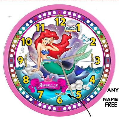 The Little-Mermaid Princess Ariel PINK large wall clock ADD a Name FREE