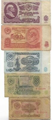 1961 Rare Old CCCP Cold War Vintage Russian Rubles Dollar LENIN Note Collection