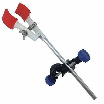 OESS 2 Finger Adjustment Lab Clamp Retort Prong Jaw Style Rubber-Wrapped Head A