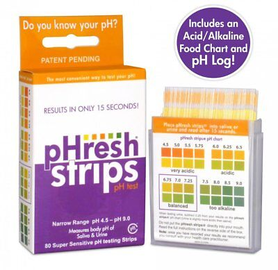 Includes an Alkaline/Acidic Food Guide, pHresh strips pH Test Strips 80ct