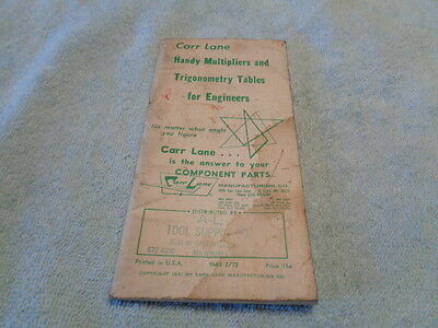 1971 Carr Lane Handy Multipliers & Trigonometry Tables For Engineers Booklet
