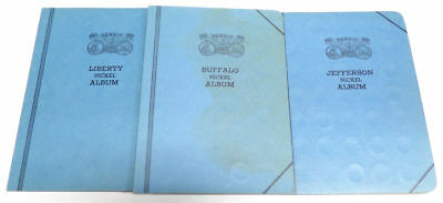 Lot of 3 Vintage Liberty Buffalo and Jefferson Nickel Dansco Coin Albums