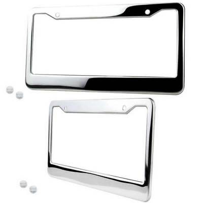 2* CHROME STAINLESS STEEL LICENSE PLATE FRAME TAG COVER + SCREW CAP Silver Color