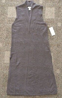 St. Tropez West 100% 2-Ply Cashmere Long Sweater Vest Taupe Womens Size Small S