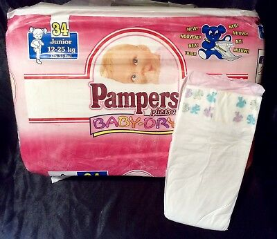 Vintage Pampers Phases Baby-Dry Diaper Sz Junior XL for Girls Europe Import