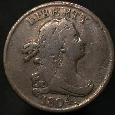 1804 Half Cent SPIKE CHIN great eye appeal Full Rim & Date Nice Toning !