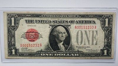 """1928 $1 Legal Tender """"Red Seal"""" - """" A00151233A """" - Rare earlier notes"""