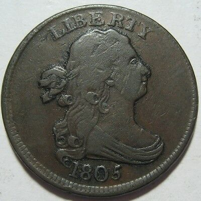 = 1805 VF+ Half Cent, Super EYE Appeal, FREE Shipping