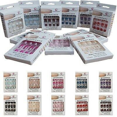 Fake Nails Full Nail Tips Glitter Acrylic French Art With Glue Ready To Wear 12x