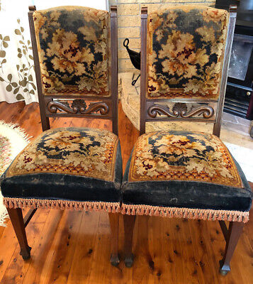 Pair of antique ornate dining chairs. Pickup only