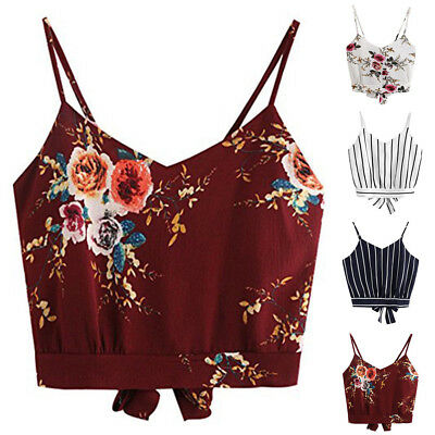 2018 Frauen Mode Sommer Floral Casual Crop Top Cami Midriff Shirt Leibchen Tops