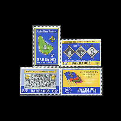Barbados, Sc #372-75, MNH, 1972, Scouts, Jamboree, Flags, Troop, SC104F