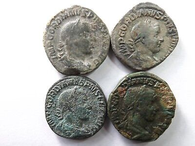 Lot of 4 Quality Ancient Roman Sestertius Coins; Gordian III...; 73.5 Grams!
